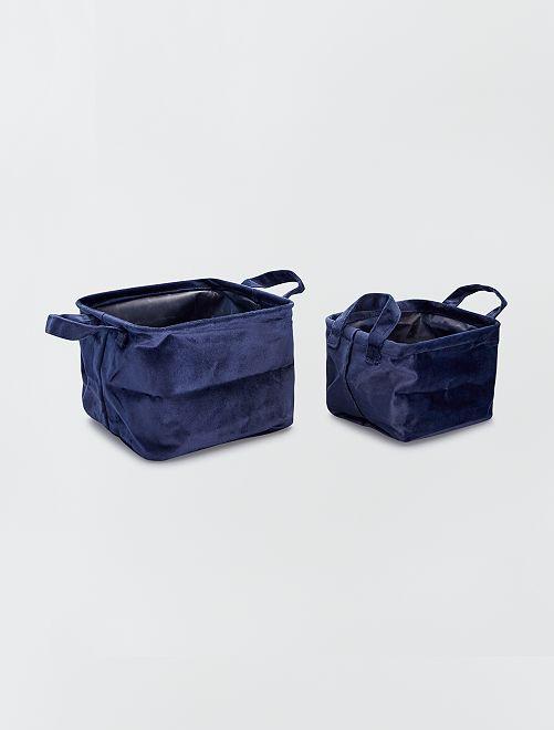 2 cestini quadrati in velluto                                             BLU