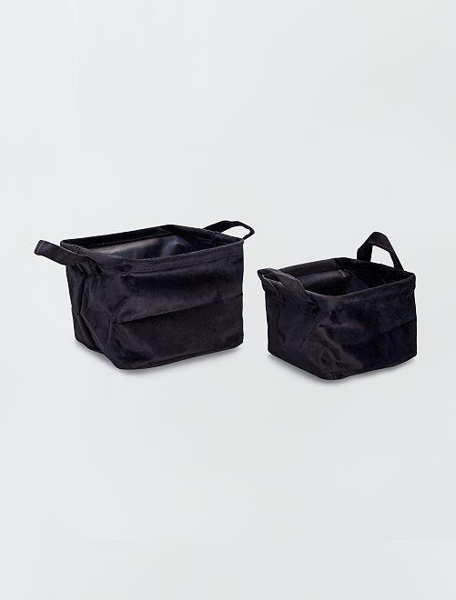 2 cestini quadrati in velluto                                                     nero