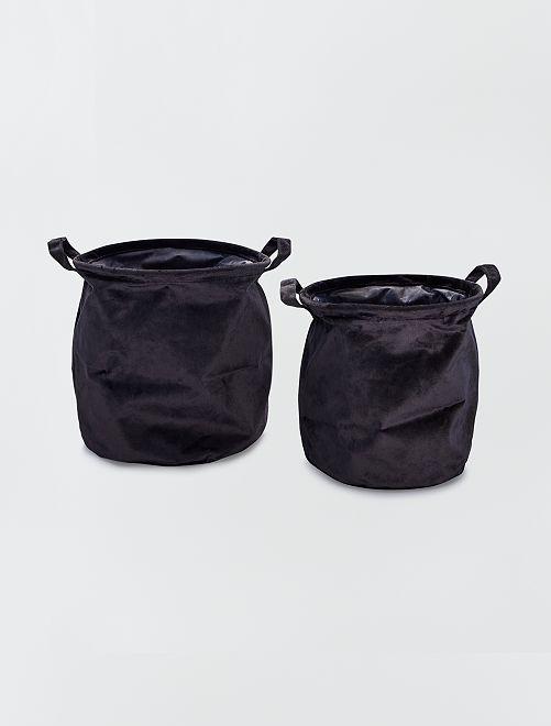 2 cestini rotondi in velluto                                                     nero