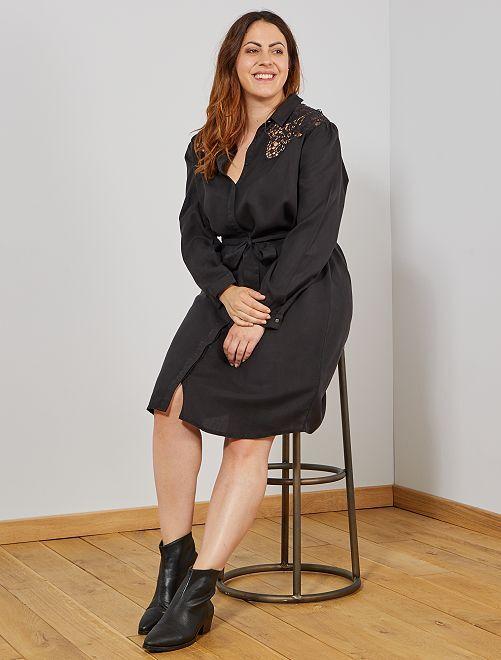 Abito camicia con macramè                             nero Taglie forti donna