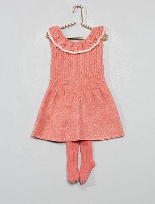 Abito lavorato a maglia + calzamaglia                             arancio