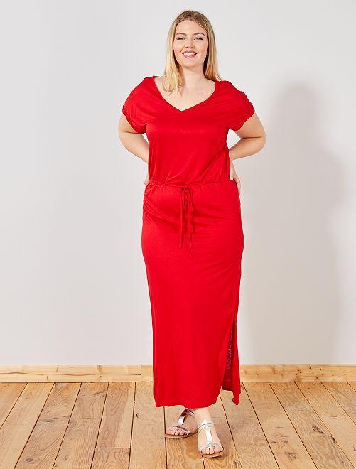Abito lungo con spacco                     rosso Taglie forti donna