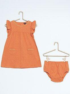Vestiti, gonne - Abito + mutandine effetto garza di cotone