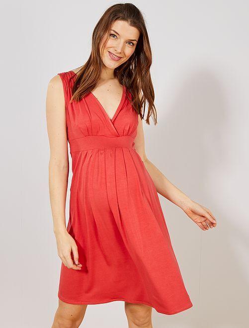 a739460f18b7 Abito premaman stile baby-doll Donna - rosso ciliegia - Kiabi - 15,00€
