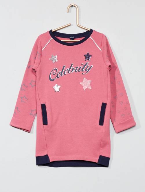 Abito pullover tessuto felpato                             rosa Infanzia bambina