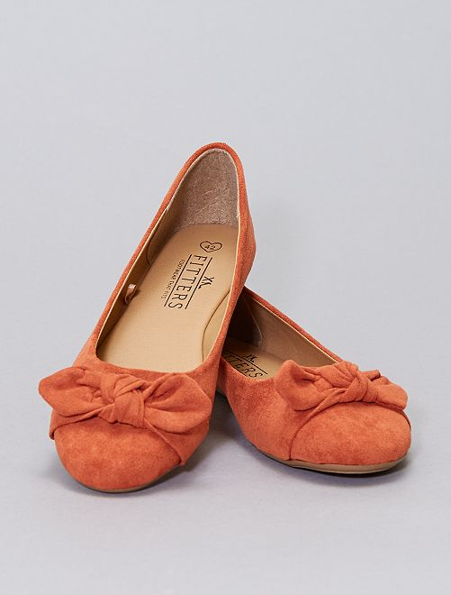 Ballerine aperte in finto camoscio -                                         arancio