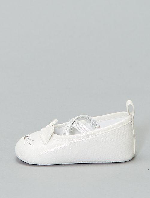 Ballerine brillanti 'testa di gatto'                             bianco argento