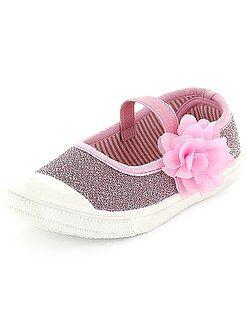 Scarpe ragazza - Ballerine tela luccicante con fiore - Kiabi