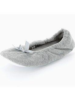 Pantofole - Ballerine velluto fiocchetto fantasia