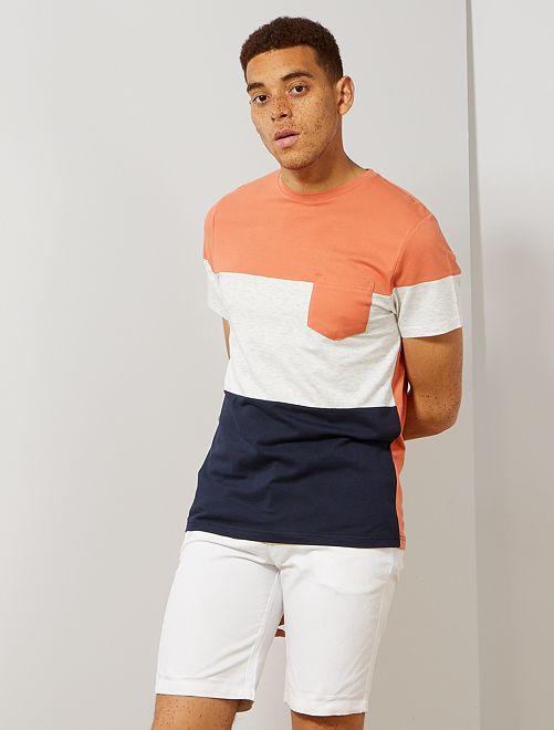 Bermuda chino cotone e lino                                         bianco Uomo
