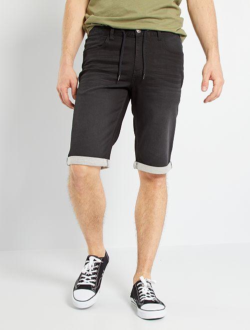 Bermuda in jeans eco-sostenibili +190 cm                                         NERO