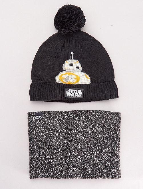 Berretto e sciarpa snood 'Star Wars'                             nero