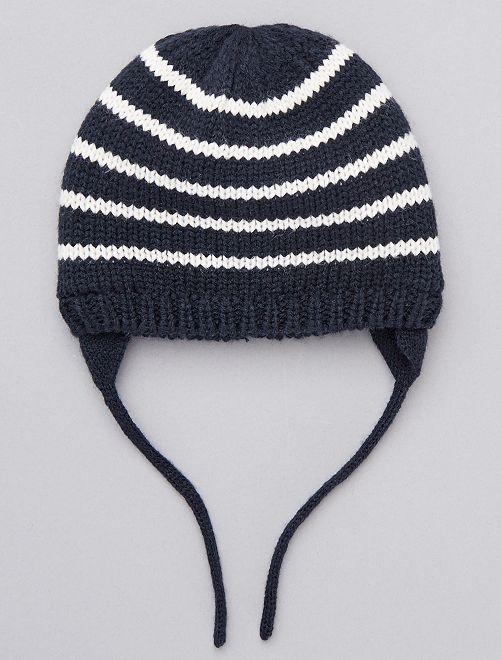 Berretto lavorato a maglia a righe                             a righe ecru