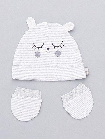 Bambino 0-36 mesi - Berretto + muffole a righe - Kiabi eca73daff1e3