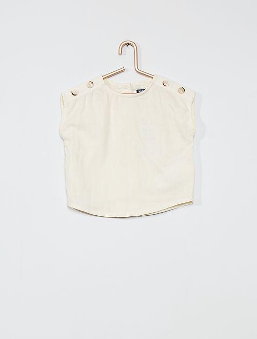 Blusa 100% cotone senza maniche                             BIANCO