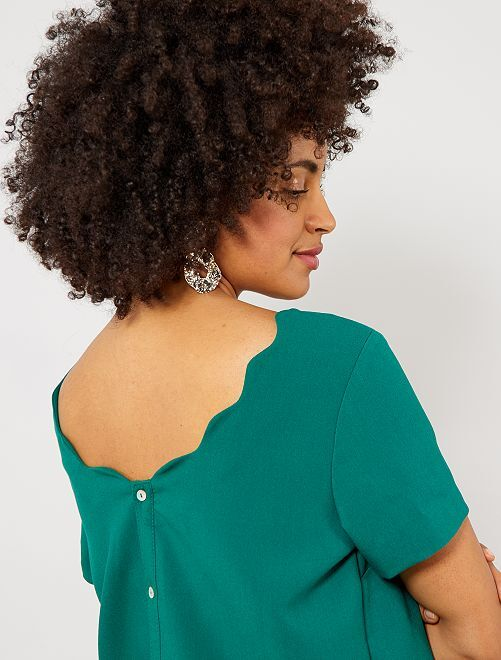 Blusa abbottonata dietro e collo corolla                                                                 VERDE