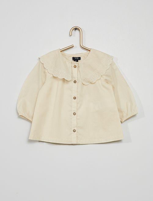 Blusa con colletto rotondo arricciato                                         BIANCO