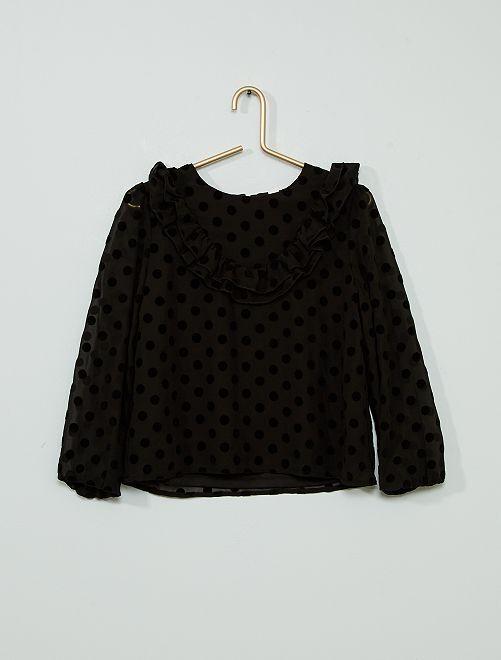 Blusa con plumetis                             nero
