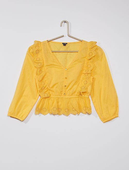 Blusa con volant e ricamo                             giallo dorato