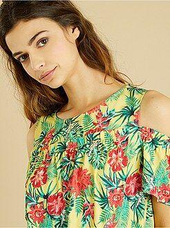 Top, bluse - Blusa fiori spalle scoperte - Kiabi