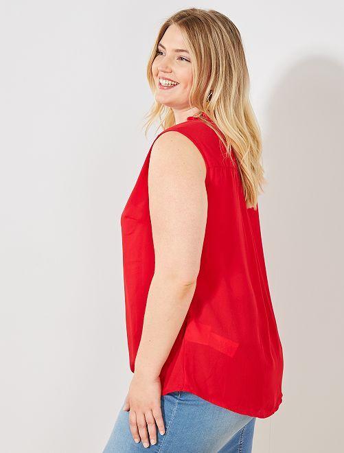 Blusa fluida colletto con volant                                                                                                                             rosso Taglie forti donna