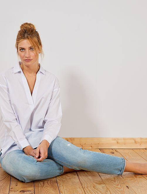 Blusa forma camicia popeline                                         BIANCO Donna