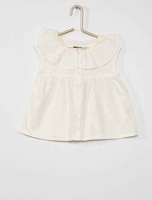 Blusa in lino e cotone                                         BIANCO