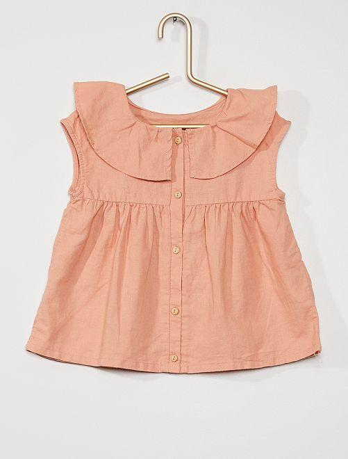 Blusa in lino e cotone                                 ROSA