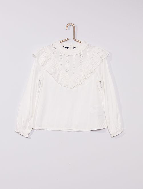Blusa morbida con ricami                                 bianco neve