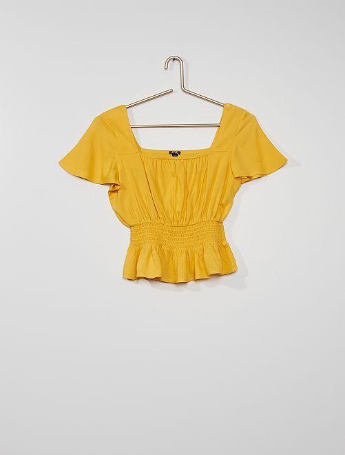 Blusa punto smock                             giallo dorato