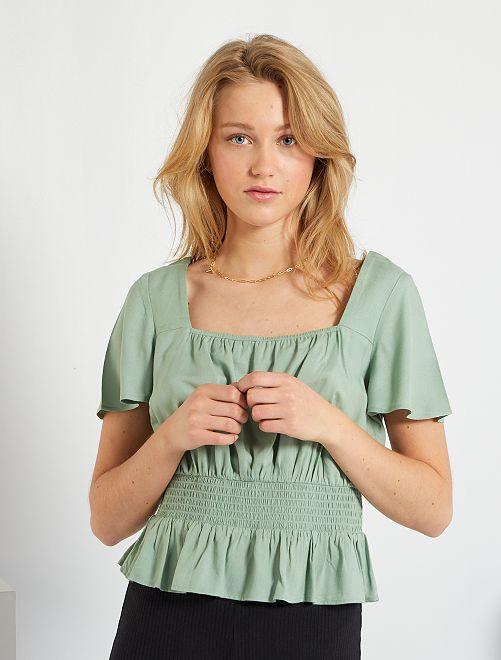 Blusa punto smock                                                     verde grigio