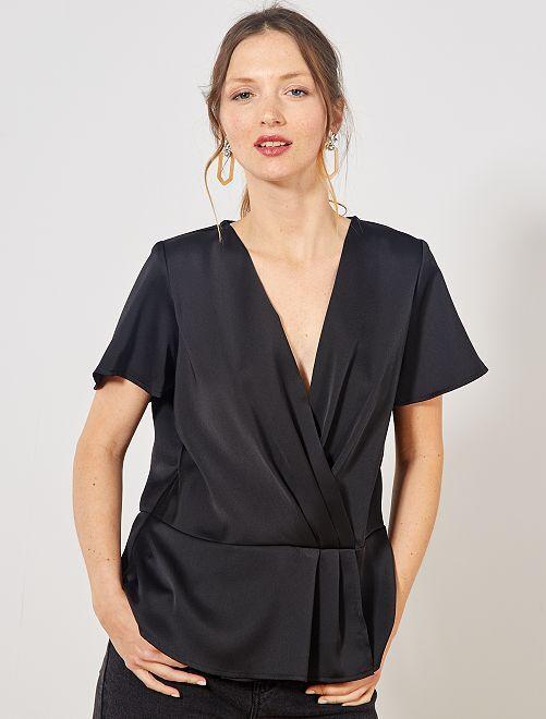 Blusa scaldacuore con baschina                             nero