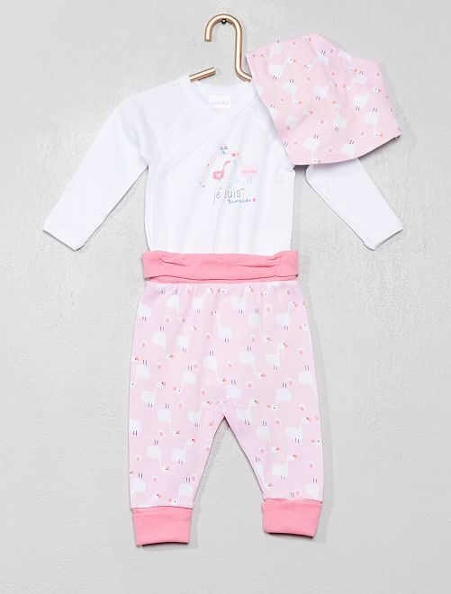 Body + pantaloni + bavaglino 'Absorba'                             rosa/bianco