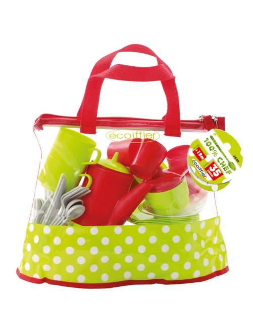 Borsa accessori cucina 35 elementi 'Ecoiffier'                             verde/rosso Infanzia bambina