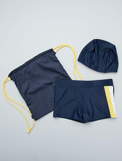 Boxer da bagno + cuffia + pochette                             blu