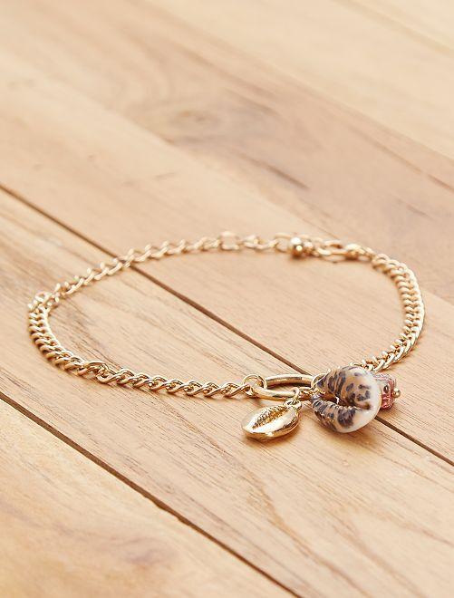 Braccialetto catena e conchiglie                             dorato