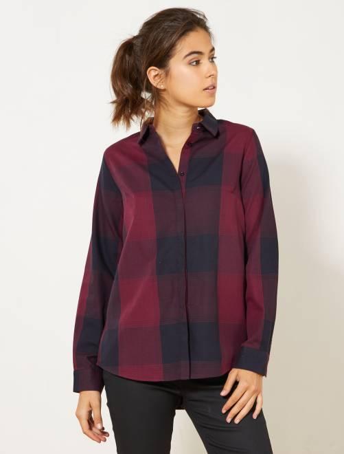 Camicia a quadretti colorata                                                                 ROSSO Donna