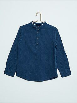 Camicie - Camicia a righe collo alla tunisina cotone e lino