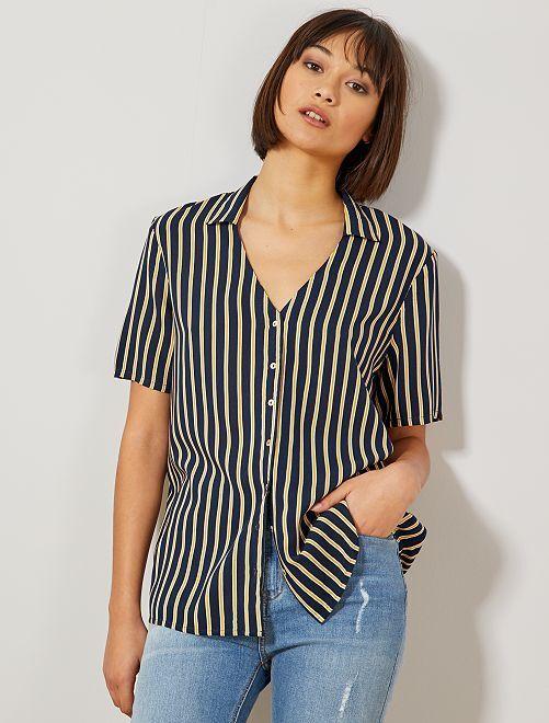 Camicia annodata stampata                                                                 BLU Donna