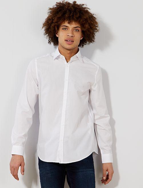 Camicia bianca tinta unita taglio dritto                                         bianco Uomo