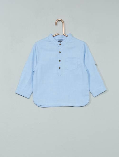 Camicia Chambray collo alla coreana                             BLU