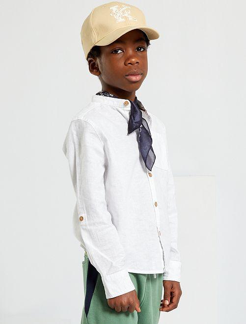 Camicia colletto alla coreana                                         bianco Infanzia bambino