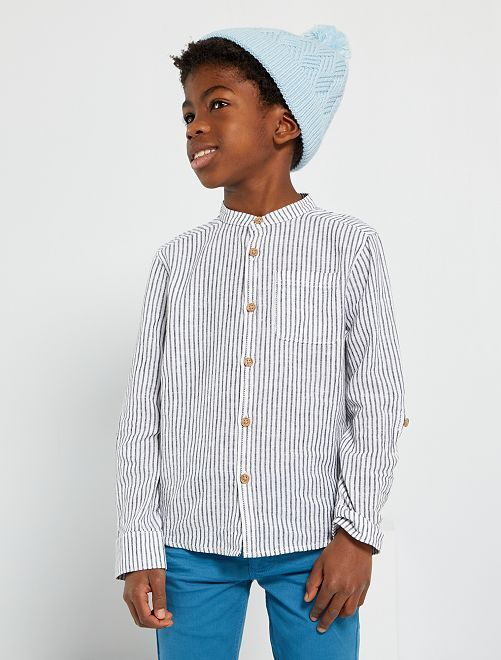 Camicia colletto alla coreana                                                                 BLU