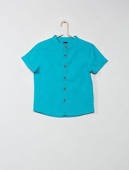 Camicia colletto alla coreana                     VERDE