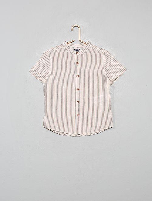 Camicia collo alla coreana a righe in cotone e lino                                                                 ROSSO
