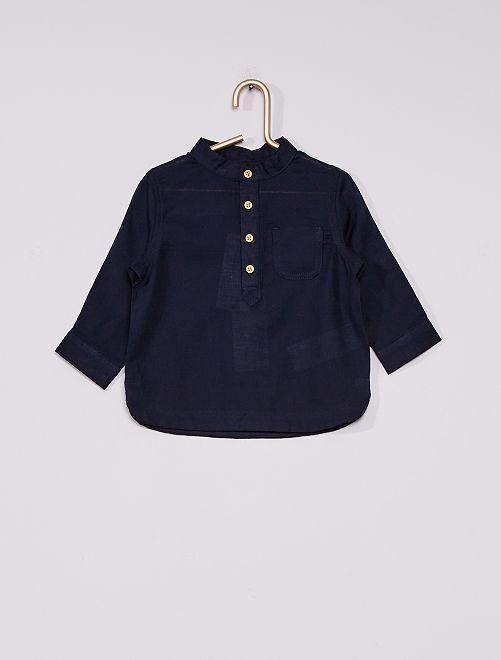 Camicia collo serafino eco-sostenibile                                         blu