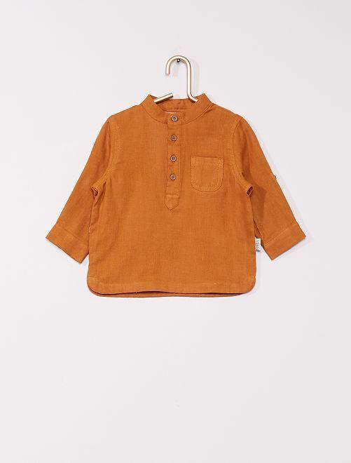 Camicia con collo alla coreana in voile di cotone                             GIALLO