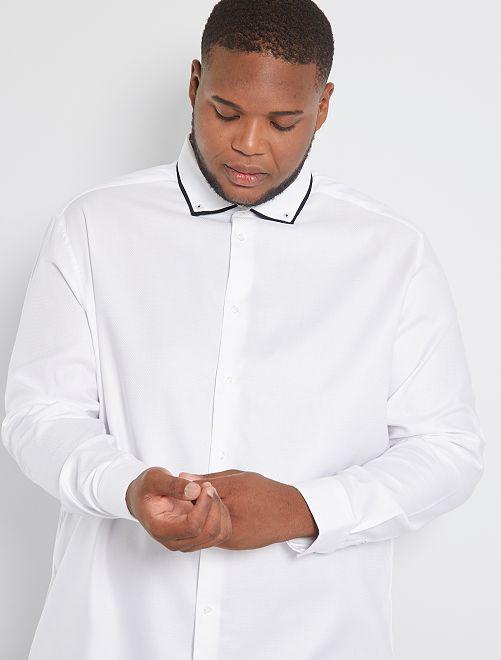 Camicia con collo fantasia eco-sostenibile                             bianco