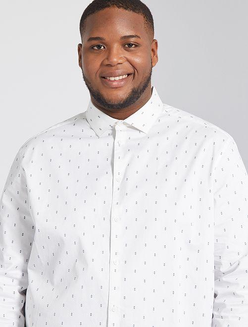 Camicia con micro motivo                                         bianco