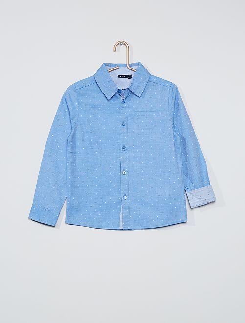 Camicia con plumetis                                         BLU